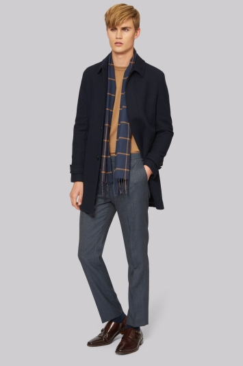 French Connection Slim Fit Navy Car Coat