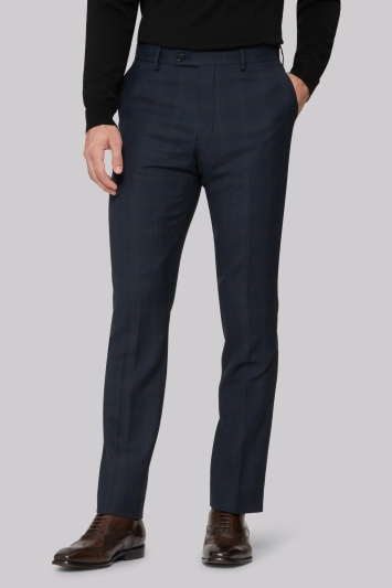 Ted Baker Tailored Fit Blue Orange Check Trousers