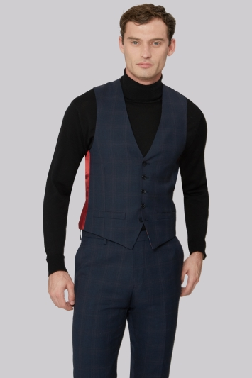 Ted Baker Tailored Fit Blue Orange Check Waistcoat