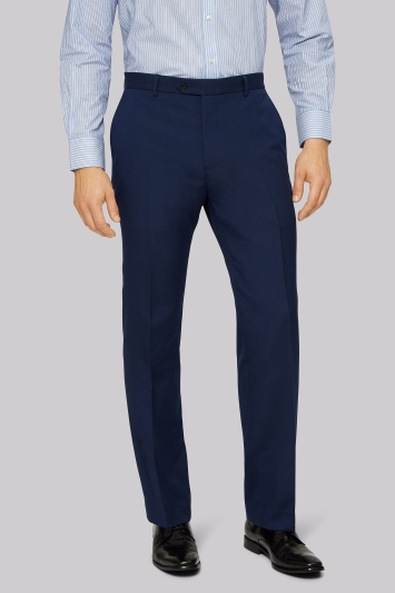 Moss Esq. Regular Fit Blue Hopsack Trouser