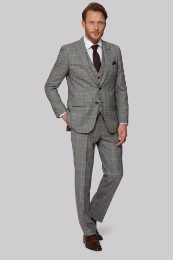 Savoy Taylors Guild Regular Fit Black & White Check Jacket