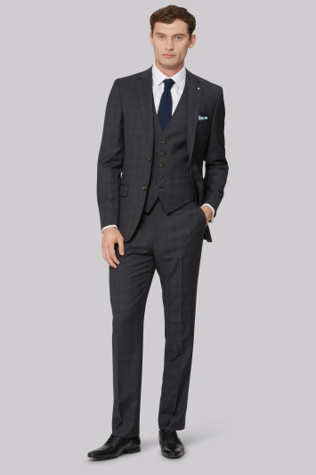 Ted Baker Tailored Fit Charcoal with Red Check Jacket