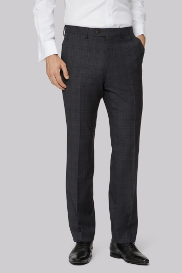 Ted Baker Tailored Fit Charcoal with Red Check Trousers