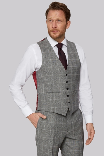 Savoy Taylors Guild Regular Fit Black & White Check Waistcoat