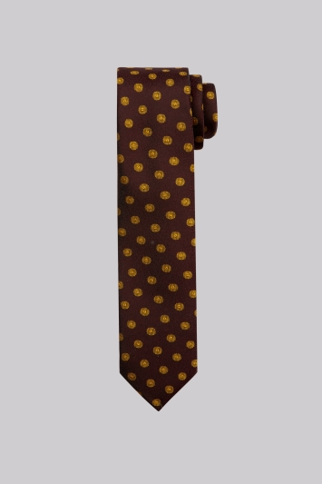 Moss London Purple & Gold Geo Skinny Tie