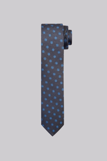 Moss London Taupe & Blue Geo Skinny Tie
