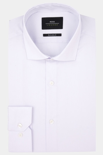 Moss London Extra Slim Fit Lilac Single Cuff Stretch Shirt