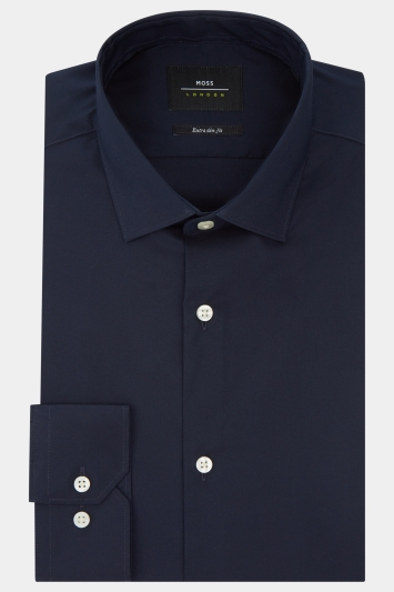 Moss London Extra Slim Fit Navy Single Cuff Stretch Shirt