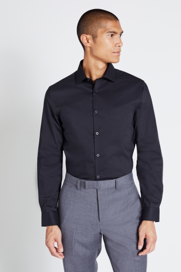Moss London Extra Slim Fit Black Single Cuff Stretch Shirt
