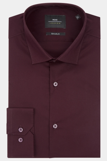 Moss London Extra Slim Fit Burgundy Single Cuff Stretch Shirt