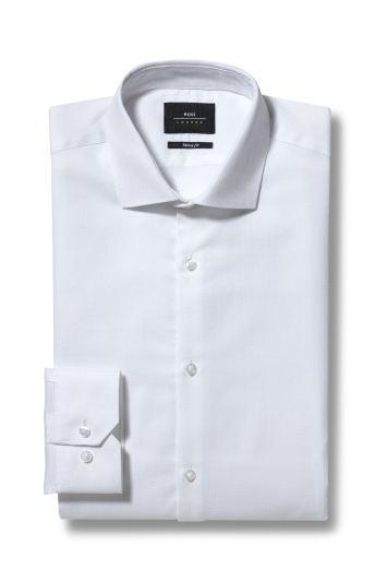 Moss London Skinny Fit White Single Cuff Textured Shirt