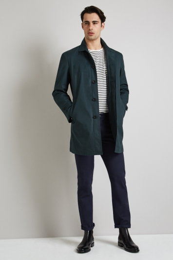 Moss 1851 Tailored Fit Dark Green Rainmac with Quilted insert.