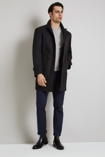 Moss 1851 Tailored Fit Black Rainmac with Quilted insert.