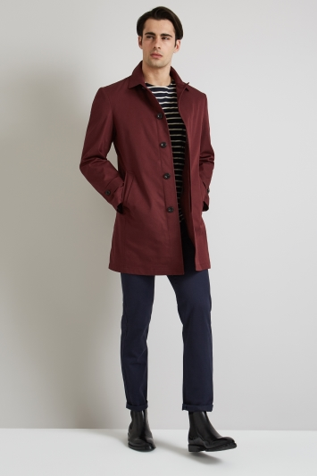 Moss 1851 Tailored Fit Burgundy Rainmac with Quilted insert.