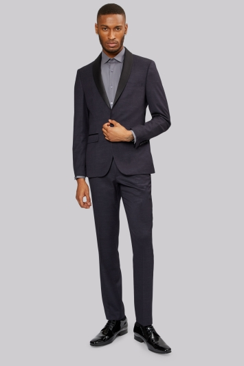 Moss London Slim Fit Denim Look Navy Dress Jacket