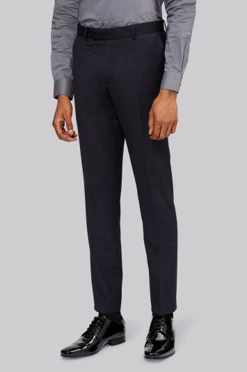 Moss London Slim Fit Navy Pindot Dress Trousers