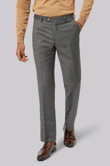 Ted Baker Tailored Fit Grey Rust Windowpane Trousers