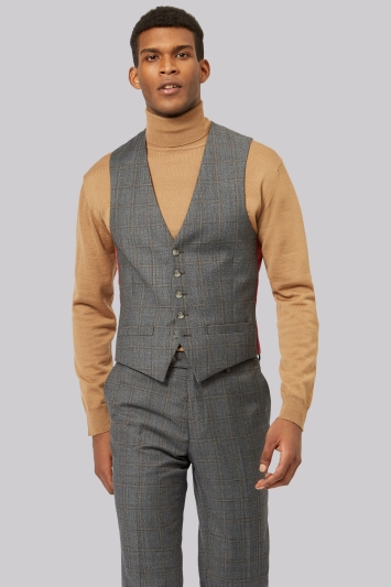 Ted Baker Tailored Fit Grey Rust Windowpane Waistcoat
