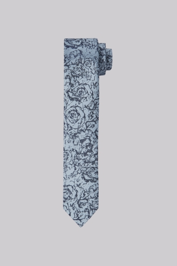 Moss London Navy & Grey Floral Skinny Tie
