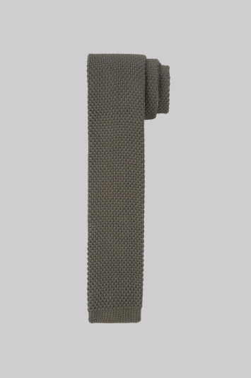 Moss London Khaki Knitted Skinny Tie