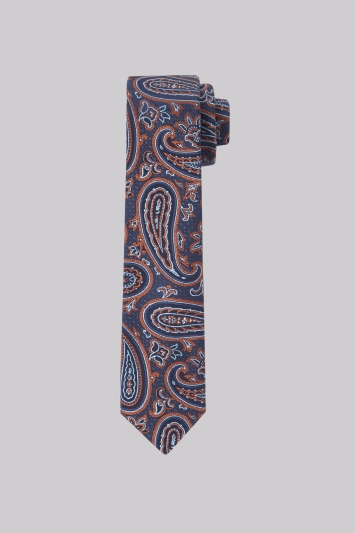 Moss London Navy & Copper Paisley Skinny Tie