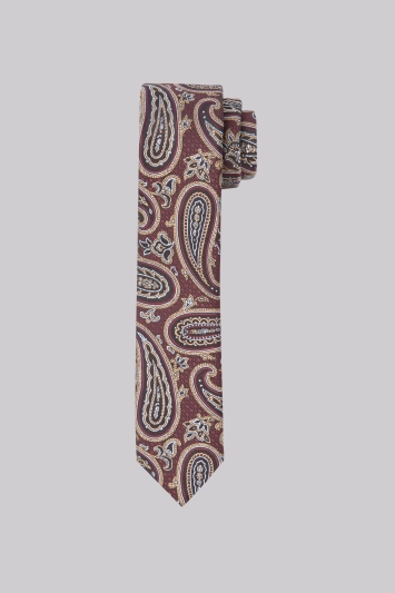 Moss London Burgundy & Gold Paisley Skinny Tie