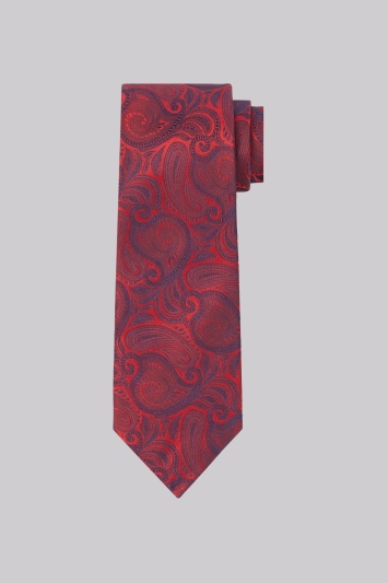Moss Esq. Red & Blue Paisley Silk Tie