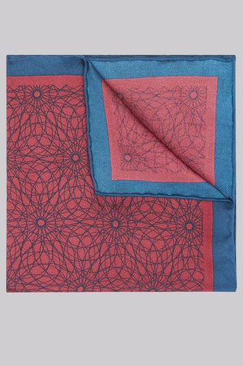 Moss 1851 Navy & Wine Geo Silk Pocket Square