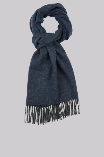 DKNY Blue Plain Wool Scarf