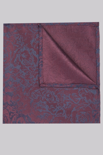 Moss London Navy & Wine Floral Pocket Square