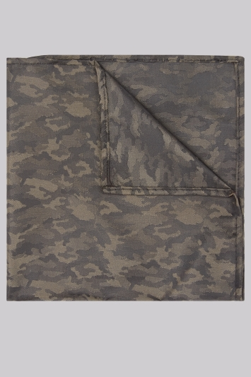 Moss London Khaki Camo Pocket Square
