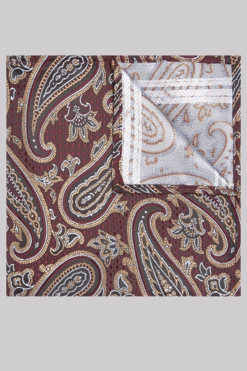 Moss London Burgundy & Gold Paisley Pocket Square