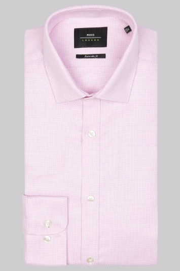 Moss London Premium Extra Slim Fit Pink Single Cuff Basketweave Texture Shirt