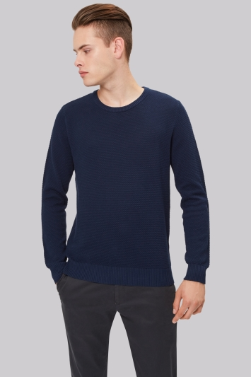 Moss London Navy Crew Neck Textured Jumper