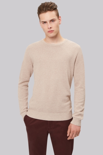 Moss London Oatmeal Crew Neck Textured Jumper