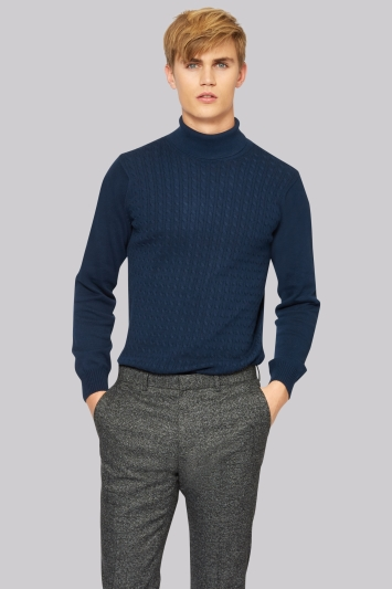 Moss London Navy Cable Roll Neck Jumper