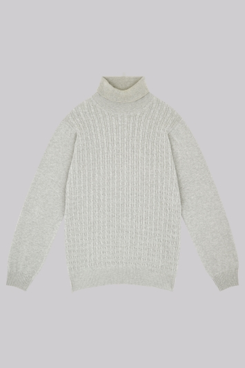 Moss London Grey Cable Roll Neck Jumper