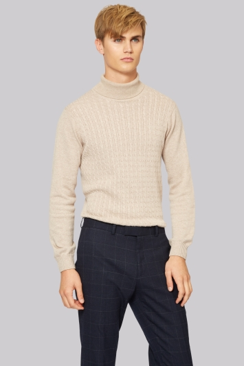 Moss London Oatmeal Cable Roll Neck Jumper