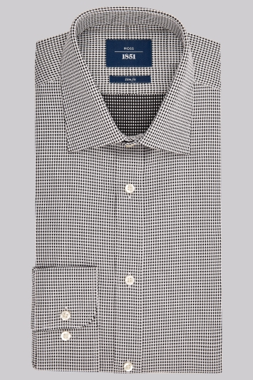 Moss 1851 Slim Fit Black and White Single Cuff Dobby Star Shirt