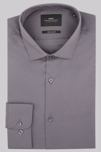 Moss London Extra Slim Fit Charcoal Stretch Shirt