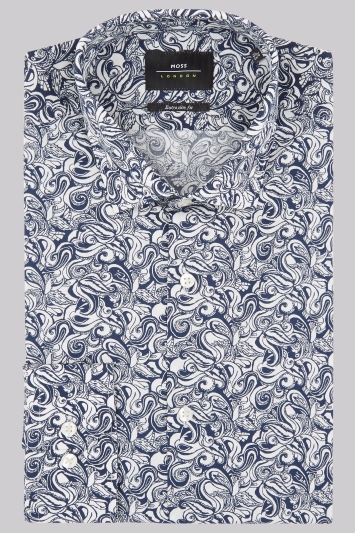 Moss London Extra Slim Fit Navy Botanical Print Shirt