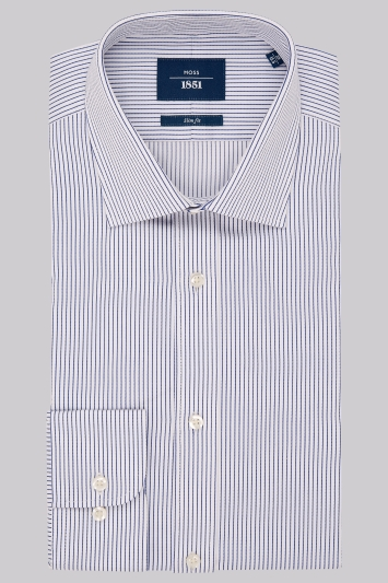 Moss 1851 Slim Fit Blue Single Cuff Textured Stripe Shirt