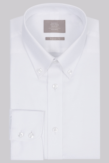 Savoy Taylors Guild Regular Fit White Single Cuff Button Down Textured Shirt