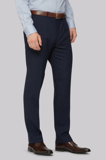 Hardy Amies Tailored Fit Navy Stripe Trouser