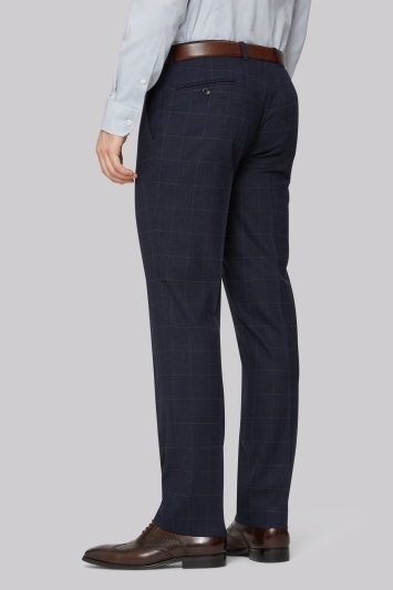 Hardy Amies Tailored Fit Navy Check Trousers