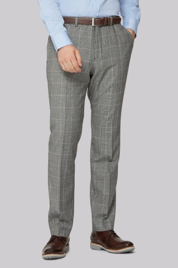 Hardy Amies Tailored Fit Grey Check Trousers