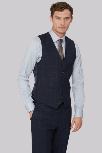 Hardy Amies Tailored Fit Navy Check Waistcoat
