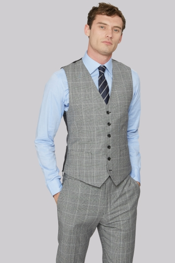 Hardy Amies Tailored Fit Grey Check Waistcoat