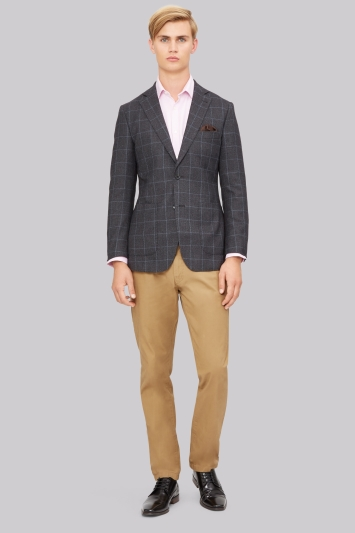 Hardy Amies Grey and Blue Windowpane Formal Jacket
