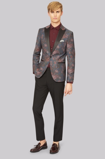 Moss London Slim Fit Charcoal Rose Print Dress Jacket